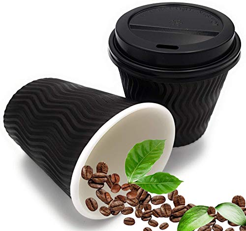 Ripple Hot and Cold Black Paper Cups with Lids for Coffee Cups with Lids and Biodegradable Disposable Tea Cups - Triple Wall Insulated Coffee Cups with Eco Friendly Packaging (8 oz 50 Pack with Lids)