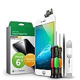 GIGA Fixxoo Display-Set für iPhone 6 Plus   Weiss   vormontiertes Reparatur-Set komplett mit Frontkamera & Werkzeug-Kit, Ersatz Bildschirm   Retina LCD Glas mit Touchscreen