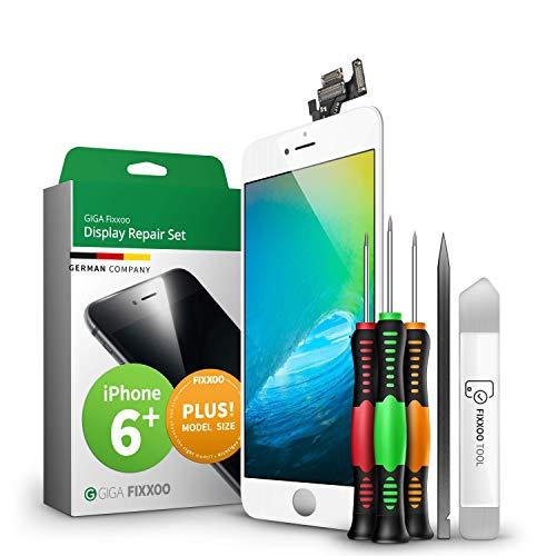 GIGA Fixxoo Display-Set für iPhone 6 Plus | Weiss | vormontiertes Reparatur-Set komplett mit Frontkamera & Werkzeug-Kit, Ersatz Bildschirm | Retina LCD Glas mit Touchscreen