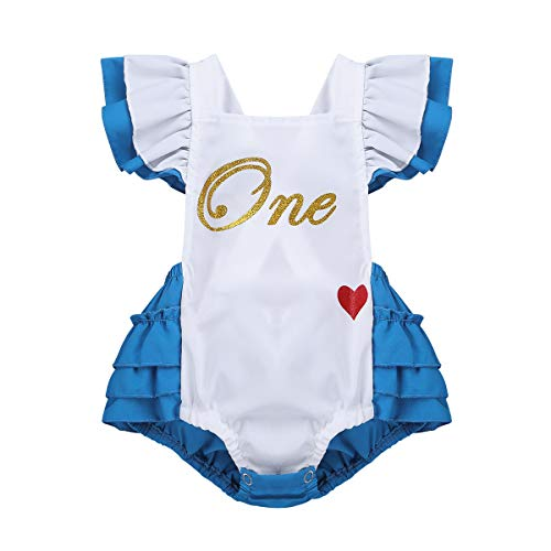 iEFiEL Infant Baby Girls' Romper First Birthday Bodysuit Princess Tutu Ruffles Dresses Party Halloween Costumes White&Blue 2T