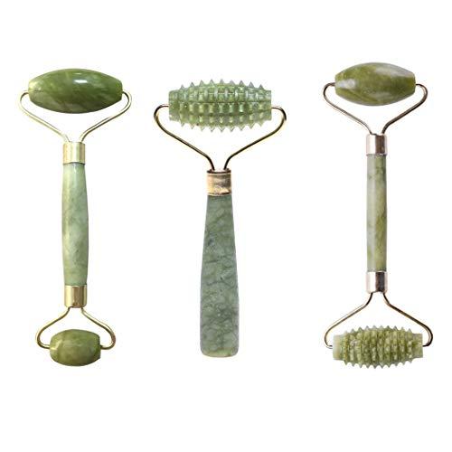 Masseur facial de rouleau de jade pour le visage rouleau de jade pour le visage, masseur facial de rouleau anti-âge, masseur facial naturel de peau 3PCS / SET
