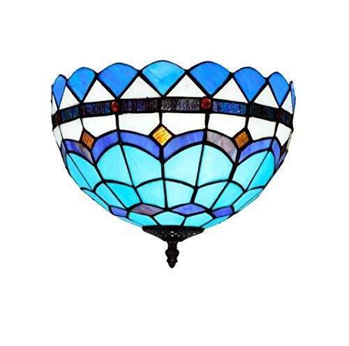 Yjmgrowing Plafonnier de Style méditerranéen Style Tiffany Plafonnier encastré en Verre teinté Bleu Éclairage de Porche d'entrée de 12 Pouces,E27,40W (30 * 21cm)