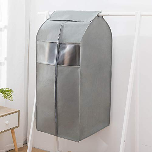 MIDUO Dust Cover Thickened Laundry Clothes Hanging Pocket Pouch Sub Guard Cover Suit Sets Perspective Mink Coat,Gray,Medium