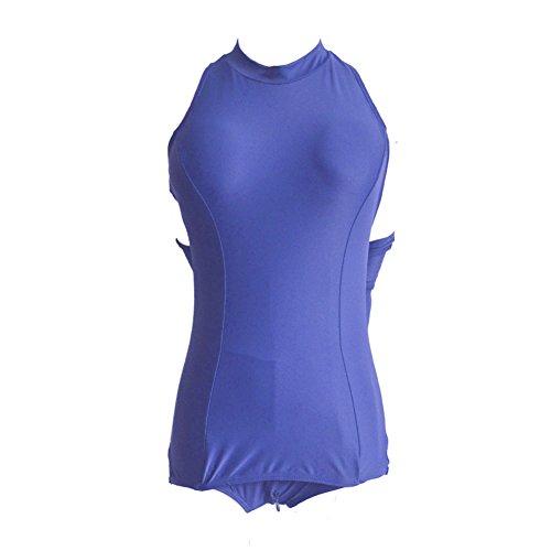Fallinoce Damen-Badeanzug, Sexy Schritt mit Reißverschluss, Einteiler, Cosplay, Blau, XXXXXXL
