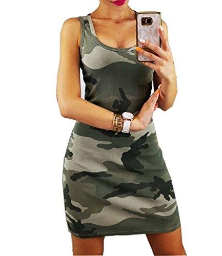 Mansy Women's Summer Camo Sexy Bodycon Tank Sundresses
