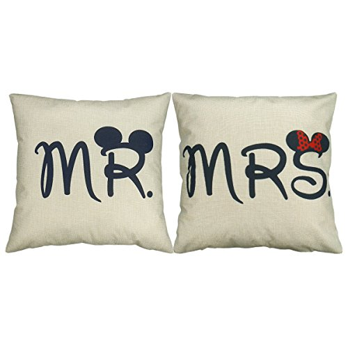 Luxbon - Set di 2 federe decorative per cuscino, motivo: Mr & Mrs [in inglese], ideali per casa, camera, divano, auto, matrimoni, 45 x 45 cm