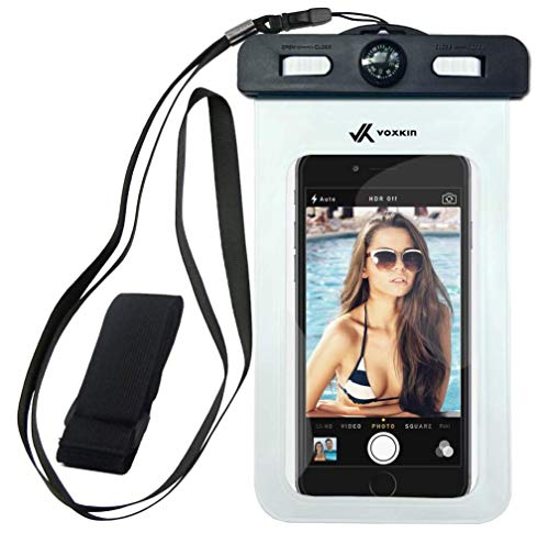 Voxkin Premium Quality Universal Waterproof Case Including Armband ✚ Compass ✚ Lanyard - Best Water Proof, Dustproof Bag for iPhone 12 Pro Max, 12 Mini, S21 Ultra, S20, OnePlus 8, Pixel 5