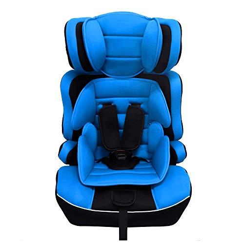 Arebos Kinderautositz | 5-Punkt-Sicherheitsgurt | Gruppe 1+2+3 für 9-36kg | Einstellbare Kopfstütze | ECE R44/04 | Abnehmbare Rückenlehne | Verstellbar (44 x 44 x 66-78 cm) (Blau)