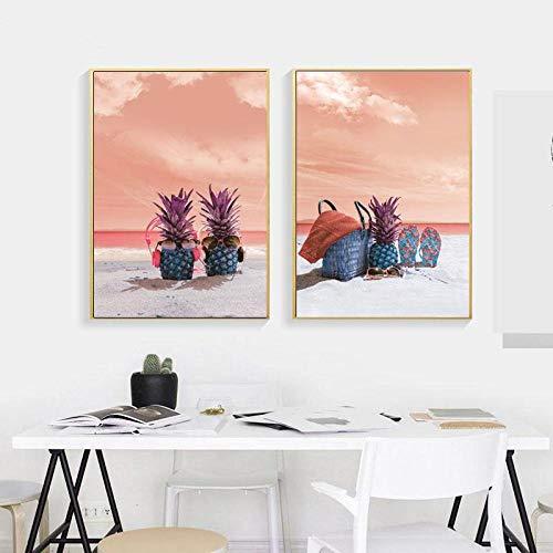 Pintura de pared de piña de playa de cielo rosa con vista al mar abstracta de estilo nórdico con gafas de sol Impresión de lienzo divertido póster de decoración del hogar-40x60cmx2 2 sin marco)