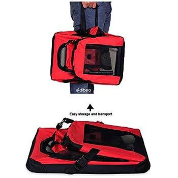 dibea TB10051 Chien Pliable Transport Voiture Box Sacoche pour Petit Animal Rouge