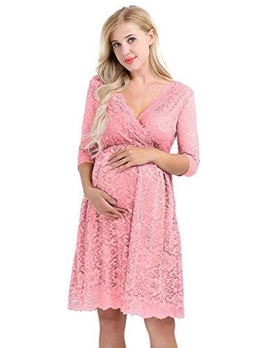 HX fashion Zwangerschapsjurken Vrouwen Zwangerschapsjurk Fotografie Voedingsjurk Comfortabele Maten Zwangerschapsjurk Voor Zwangere Vrouwen (Color : Rosa, Size : S)