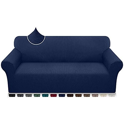 Luxurlife Funda de sofá de Alta Elasticidad Funda para Sofá Premium Súper Suave Protector de Muebles para Sala de Estar(3 Plazas,Azul Marino)