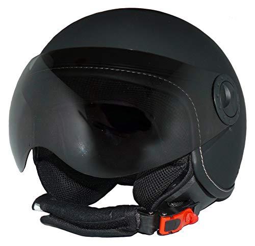 Protectwear Jethelm Motorradhelm H710 matt-schwarz einfarbig im Pilotendesign - M