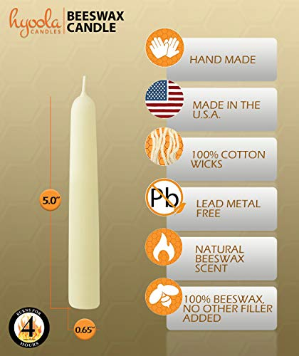 Hyoola White Beeswax Taper Candles – Hand Dipped, Decorative, All Natural, 100% Pure Scented Bee Wax Candle - 12 Pack - 4 Hour Burn Time