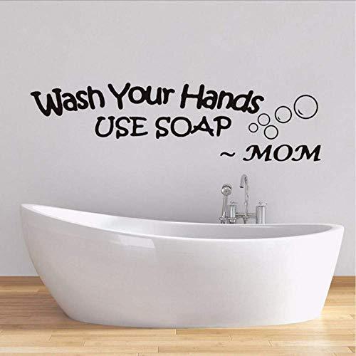 Waschen Sie Ihre Hände Verwenden Sie Seife Worte Von Mama Wandaufkleber Für Wohnzimmer Hroom Wasserdicht Aufkleber Tapete Wanddekor Wohnkultur 60 * 16.Cm