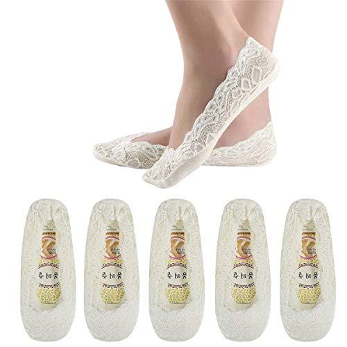 Tuopuda 5 Paar Damen Füßlinge Ballerina Socken Spitzen-Füßlinge Sommer Socken mit Rutschfeste Silikon, Weiß, Einheitsgröße