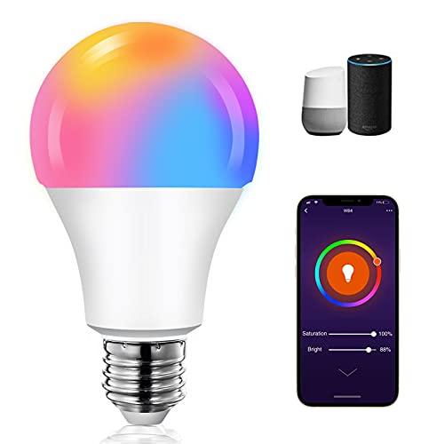 Alexa Glühbirnen E27 Smart LED-Lampe Mehrfarbige Dimmbare Lampe 10W RGB 1000LM Kompatibel mit Amazon Alexa Echo,Echo Dot Google Home Kein Hub Smart Birne Glühbirne [Energieklasse A +++],1 Stueck