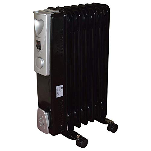 Black 1500w 1.5kw 7 Fin Slimline Oil Filled Radiator & Room Heater