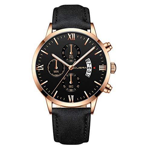 TWISFER Mode Herren Uhren Multi Zifferblatt Armbanduhren Casual Leder Armband Uhr Sport Mode Armbanduhr Freizeit Personality Watches