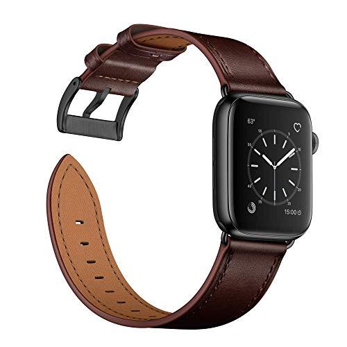 Arktis Lederarmband kompatibel mit Apple Watch (SE, Series 6, Series 5, Series 4 mit 44 mm) (Series 3, Series 2, Series 1 mit 42 mm) Wechselarmband [Echtleder] inkl. Adapter - Dunkelbraun