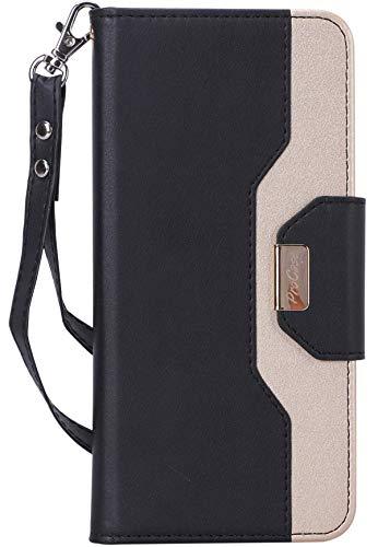 ProHülle LG V40 ThinQ Brieftasche Hülle, ProHülle Flip Kickstand Hülle mit Card Slots Spiegel Wristlet, Klappständer Schutzhülle für LG V40 ThinQ 2018 Freigibt –Schwarz
