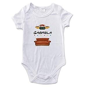 LolaPix Body Personalizado Bebé con Nombre. Regalos Personalizados para Bebés. Bodies Personalizados Manga Corta. Varias Tallas. Friends