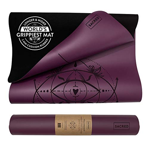 SACRED Pro Yoga Mat | Extra Grip Reversible, Non-Slip | Lighter Eco-Friendly Mat | Extra Long & Comfortable 5mm Thick Exercise Mat with Central Alignment Lines (Purple Plum)