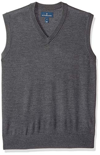 BUTTONED DOWN Men's Italian Merino Wool Lightweight Cashwool Sweater Vest, Dark Grey, X-Small