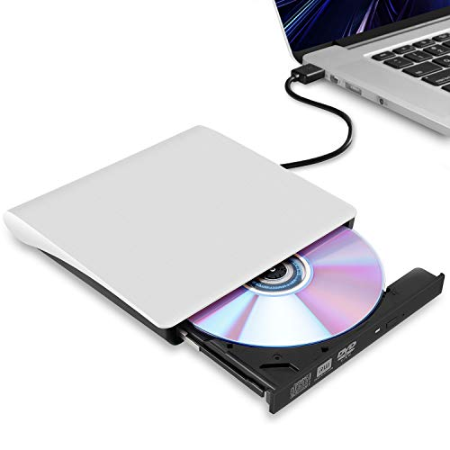 External CD/DVD Drive for Laptop, USB 3.0 Ultra-Slim Portable Burner Writer Compatible with Mac MacBook Pro/Air iMac Desktop Windows 7/8/10/XP/Vista (White)