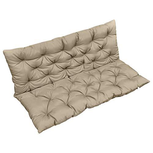 vidaXL Coussin pour Balancelle Coussin de Siège Coussin de Hamac d'Extérieur Jardin Ultra-Doux Durable Confortable Beige 120 cm Tissu