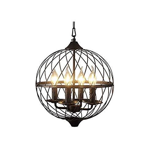 4 / faros Europea y la araña American Loft país vendimia Globo araña / restaurante araña colgando E14 retro iluminación de alambre de metal jaula de pantalla de la lámpara del techo de hierro forjado