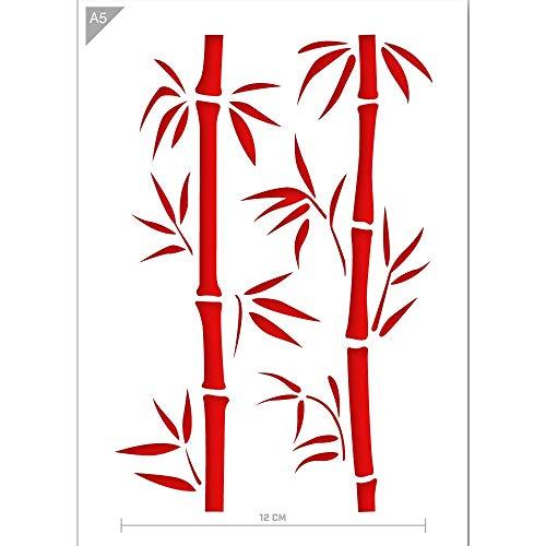 QBIX Bambus Schablone - Bambus Zweig Schablone - Bambus Blätter Schablone - A5 Größe - Wiederverwendbare Kinder freundlich DIY Schablone zum Malen, Backen, Basteln, Wand, Möbel
