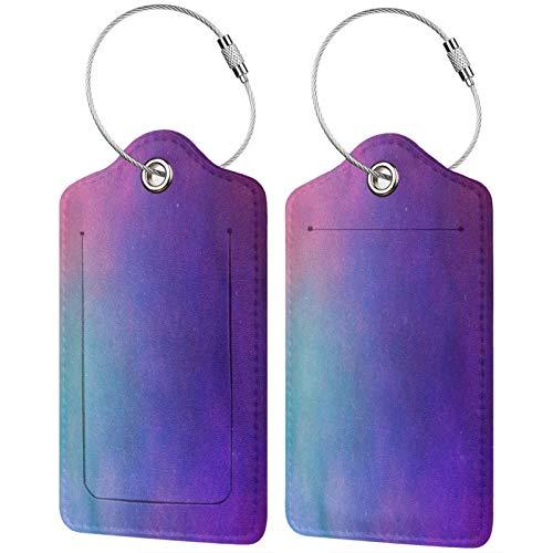 FULIYA - Juego de 2 etiquetas de cuero para maletas, identificador de viaje para bolsos y equipaje, para hombre y mujer, textura, lunares, rosa, lila