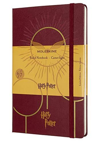 Moleskine - Cuaderno Edición Limitada Harry Potter, Cuaderno con Hojas de Rayas, Diseño del Quidditch 6/7, Tapa Dura con Dibujos y Detalles Temáticos, Tamaño Grande 13 x 21 cm, Color Rojo, 240 páginas