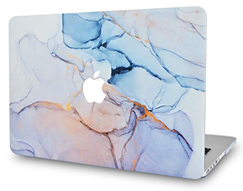LuvCaseLaptopCaseforMacBookPro 13' (2021/2020 Release) with Touch Bar A2338 M1/A2251/A2289 RubberizedPlasticHardShell Cover (Serenity Blue Marble)