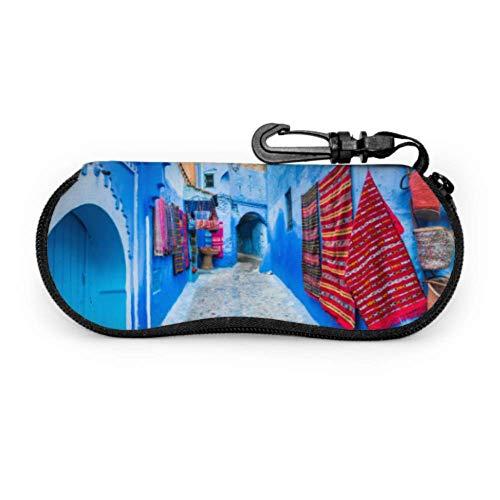 Narrow Street Chefchaouen Blue City Morocco Fashion Sunglasses Case Lightweight Eyeglass Case Light Portable Neoprene Zipper Soft Case Cheap Sunglass Pouch