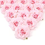 Artificial Flowers Heads 10cm for Wedding Decoration DIY Wreath Gift Box Floral Silk Party Design Rose Flower (Pink)