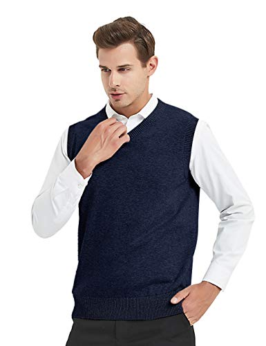 TOPTIE Mens Business Solid Color Plain Sweater Vest, Cotton Fit Casual Pullover-Navy-XXL