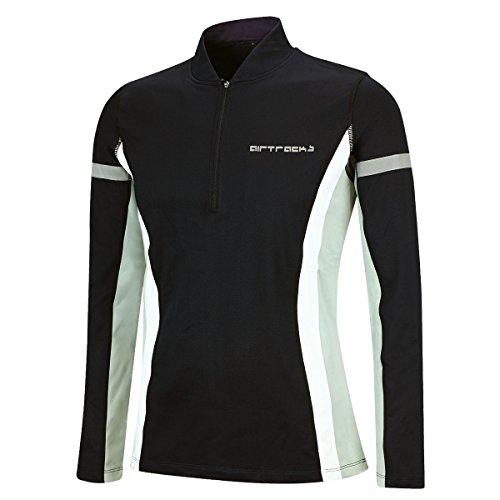 Airtracks Winter Funktions Laufshirt/Damen oder Herren/Thermo Funktionsshirt/Fleece Running T-Shirt/Reflektoren/Langarm - schwarz - M - Damen