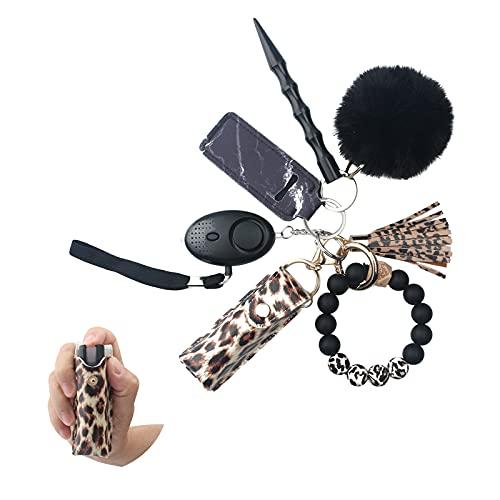 Keychains with Pepper Spray, Keychain Accessories with Kubaton Keychain, Personal Alarms for Women, Bead Bracelet Keychain with Tassel, Wristlet Keychains, Chapstick Holder and Pom