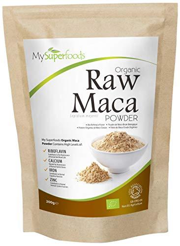 Polvo De Maca Orgánica (200g), MySuperFoods, Repleto de nutrientes saludables, Antiguo alimento para la salud de Perú, Delicioso sabor a maltosa, certificado como producto orgánico