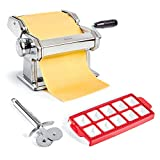 Uno Casa Pasta Maker - Stainless Steel Pasta Roller Noodle Maker Machine - Durable Pasta Roller with Pasta Cutter and Ravioli Mold - Recipe E-Book Included