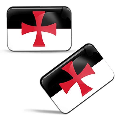 Biomar Labs® 2 x Aufkleber 3D Gel Silikon Stickers Kreuzritter Mittelalter Flagge Templer Kreuz Rot Fahne Templar Flag Auto Motorrad Fahrrad Fenster Tür PC Tablet Laptop F 75