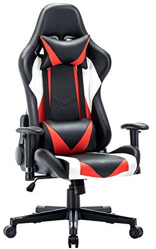 UOMAX Gaming Stuhl, Racer PC Stühle für Gamer Stuhl Computer Gamer Sessel PU Leder 150kg, Überweitern Schalensitz, Zurückhaltend Bürostuhl mit Verstellbares Kissen