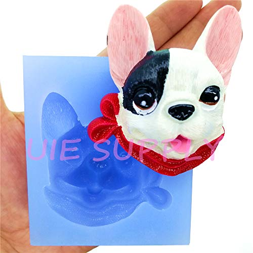 826LBD French Bulldog Dog Silicone Mold Fondant Cake Decoration Chocolate Candy Resin Art Clay Soap Aromatherapy Candle Making 60.6mm x 51.1mm 19.2mm