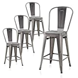 BELLEZE Alexander Set of 4, 24Inch Seat Height Dining Chairs Bar Stools with High Backrest, Industrial Metal Counter Height Stool, Gunmetal