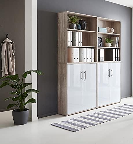 abschliessbare Regalwand Aktenschrank Büroschrank Schrankwand Büromöbel Regal Office Edition in Eiche Sonoma/weiß (Set 11)
