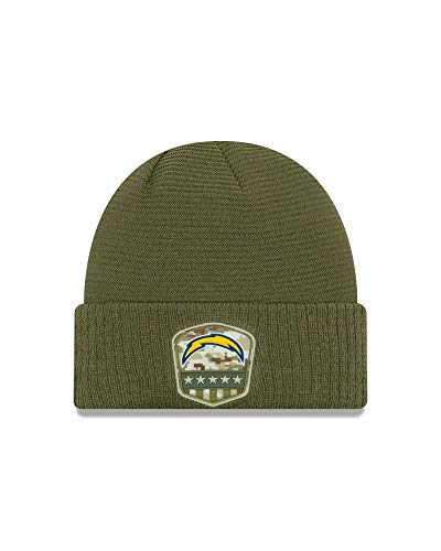 New Era - NFL Los Angeles Chargers On Field 2019 Salute to Service Knit Cuff Beanie - Olivgrün Größe One Size