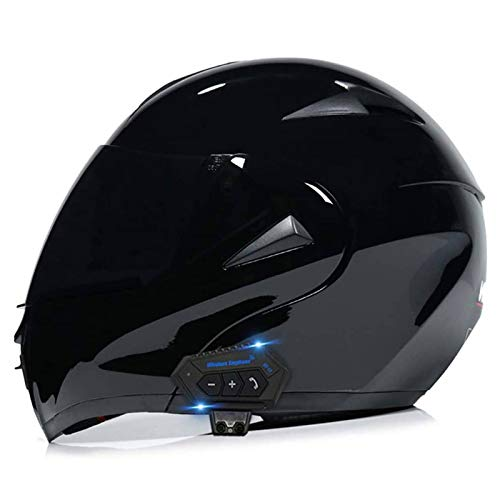 DLPAC Casco Bluetooth per Moto, Casco Integrale Modulare con Visiera Parasole Integrale, Casco Certificato DOT, Sistema di Comunicazione Interfono Integrato Radio FM Mp3 Integrato