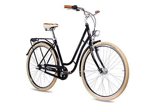 CHRISSON 28 Zoll Retro Citybike Damen - N Lady 3G schwarz - Damen-City-Fahrrad mit Shimano Nexus 3 Gang Nabenschaltung im Retro Design, Vintage Damenfahrrad mit Rücktrittbremse und Gepäckträger